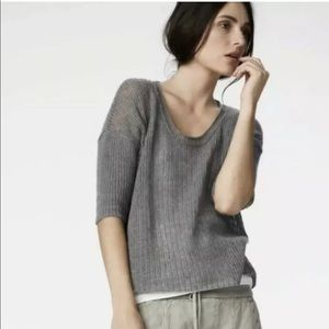 James Perse Cashmere Open Knit Sweater Shirt Boxy